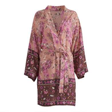 Pink Floral Silky Robe