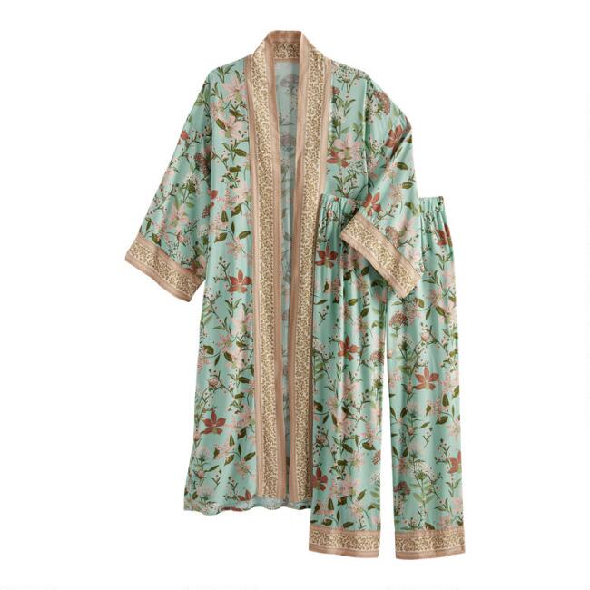 Teal and Ivory Blossom Pajama Collection