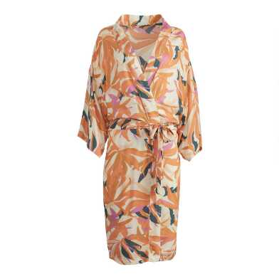 Coral and White Tropical Leaf Print Katara Robe