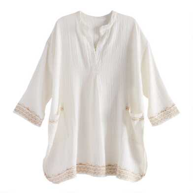 Ivory Cotton Embroidered Double Wave Nightshirt
