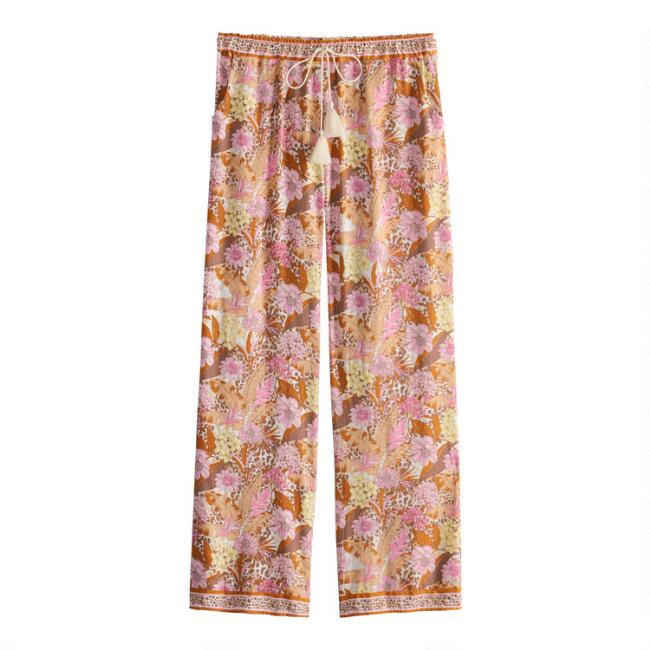 Pink and Orange Leopard Floral Pajama Pants