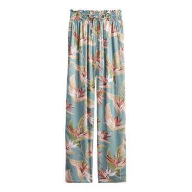 Teal and Pink Bird of Paradise Pajama Pants