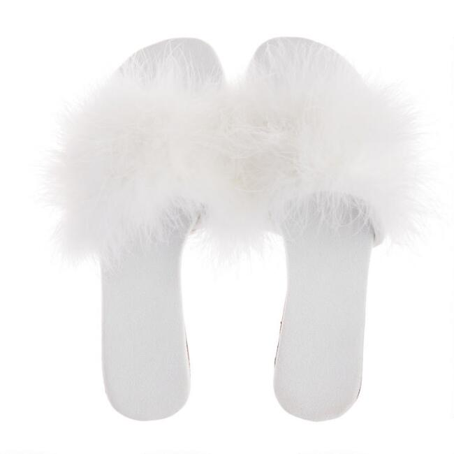 Ivory Feather Slippers