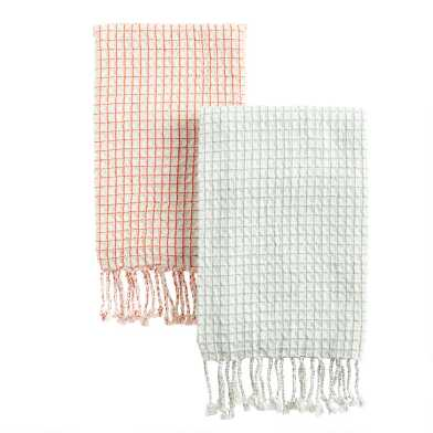 Waffle Weave Check Kitchen Towel With Tassels