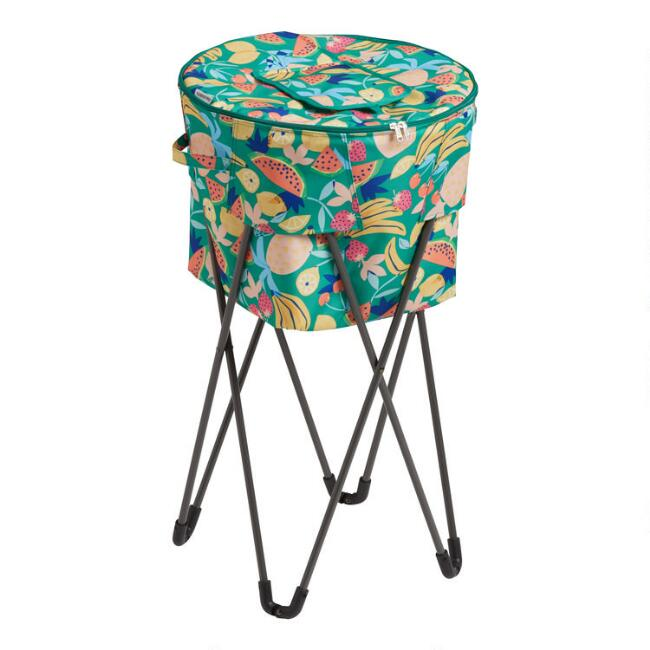 Multicolor Fruit Salad Insulated Cooler Tub with Stand