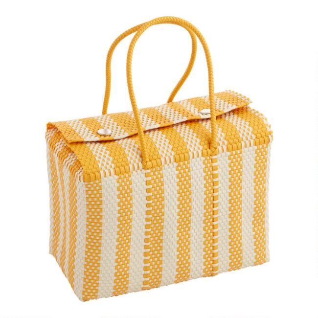 Yellow and White Biarritz Handwoven Picnic Tote Bag
