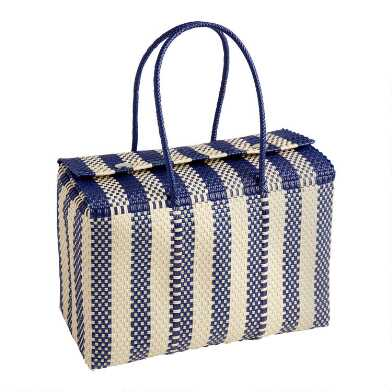 Navy and White Biarritz Handwoven Picnic Tote Bag
