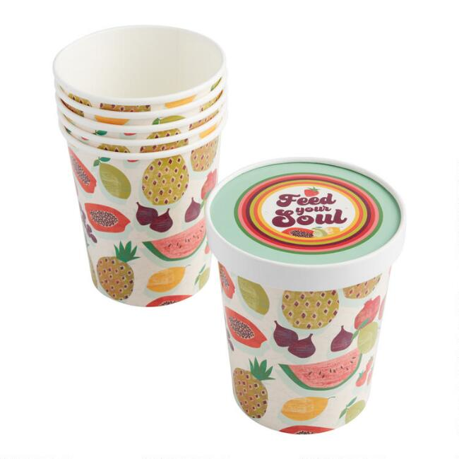 Picnic Paper Take Away Cups with Lids 6 Pack