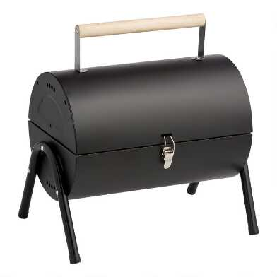 Black Metal and Wood Portable Charcoal Barbecue Grill