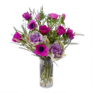 Fresh Lavender Kale, Pink Anemone and Grevillea Bouquet