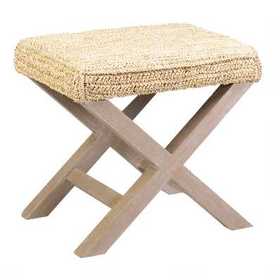 Raffia and Wood Dalilah Accent Stool
