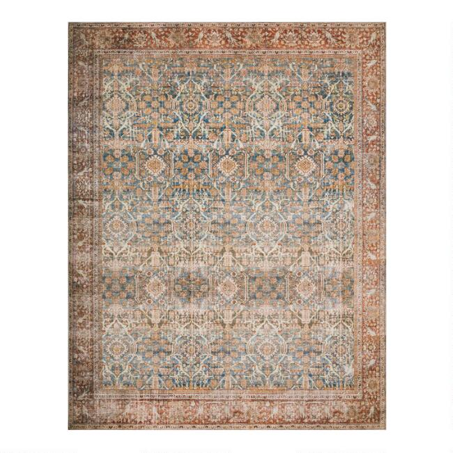 Ocean Blue Distressed Persian Style Layla Area Rug