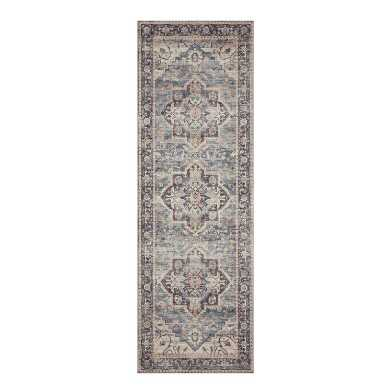 Gray Distressed Persian Style Hathaway Floor Runner
