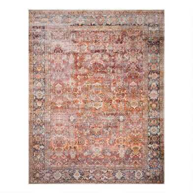 Rust Distressed Persian Style Layla Area Rug