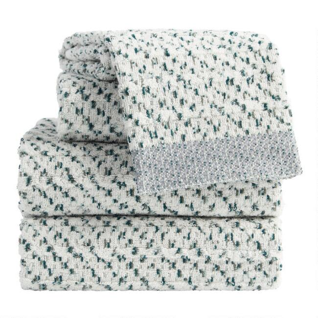 Green and Blue Marled Jacquard Zelda Towel Collection