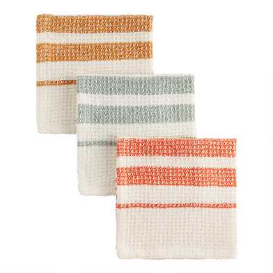 3 Count Stripe Waffle Weave Dishcloths Set of 2