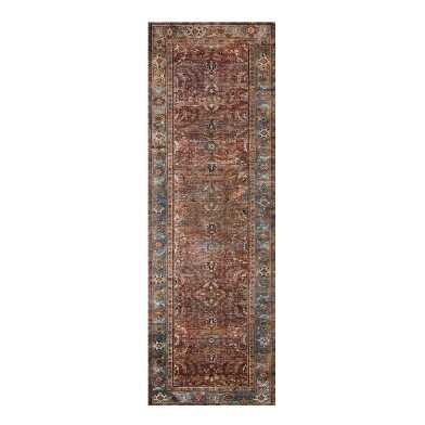 Brick Red Distressed Persian Style Layla Floor Runner