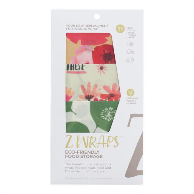 Z Wraps Greens, Bees and Poppies Reusable Food Wraps 3 Pack