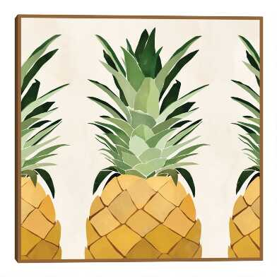 3 Pineapples by Bria Nicole Framed Canvas Wall Art