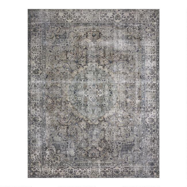 Stone Gray Distressed Persian Style Layla Area Rug