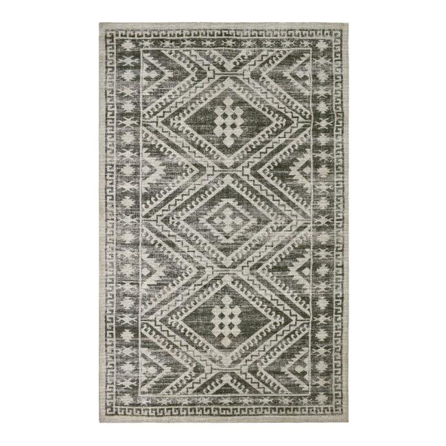 Black and White Persian Style Indoor Outdoor Rug