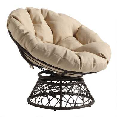 Brown Wicker Swivel Papasan Chair with Cushion