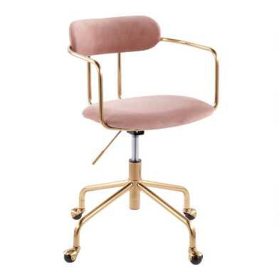 Gold Metal and Velvet Upholstered Office Chair