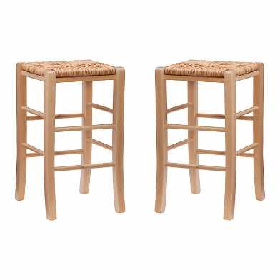 Natural Fiber Backless Francesca Counter Stool Set of 2