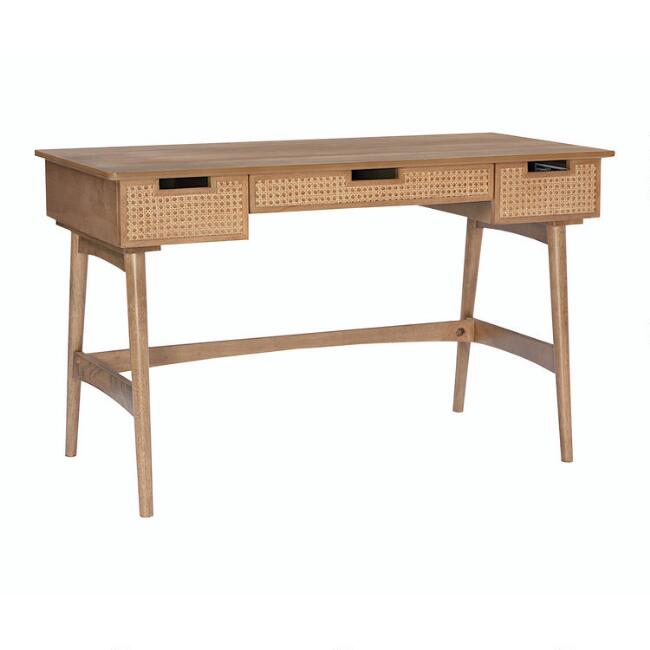 Natural Rattan Cane and Wood Malay Desk with Drawers