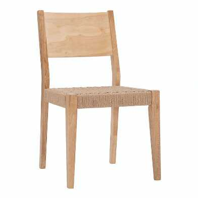 Wood and Woven Rope Morgan Dining Chairs Set of 2