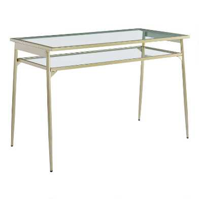 Metal and Glass Lilian Desk with Shelf