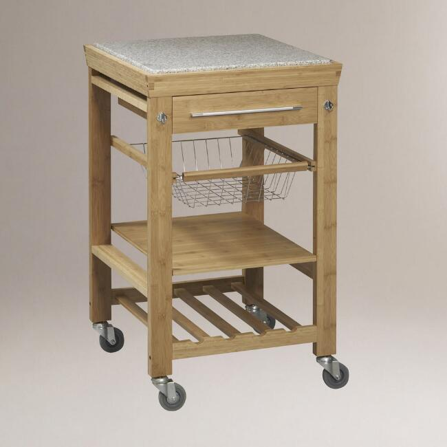 Natural Bamboo and Granite Newhall Kitchen Cart
