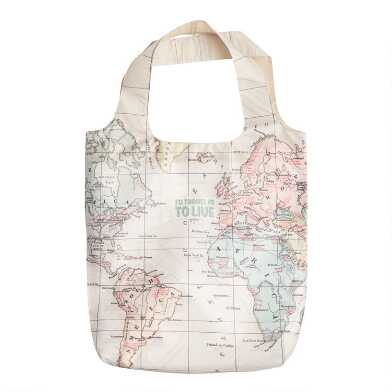 World Travel Map Foldable Tote Bag