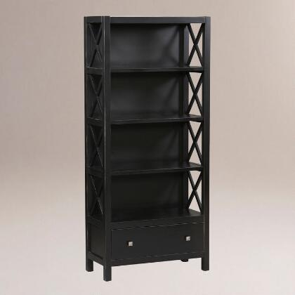 Antique Black Verona Six Shelf Bookcase