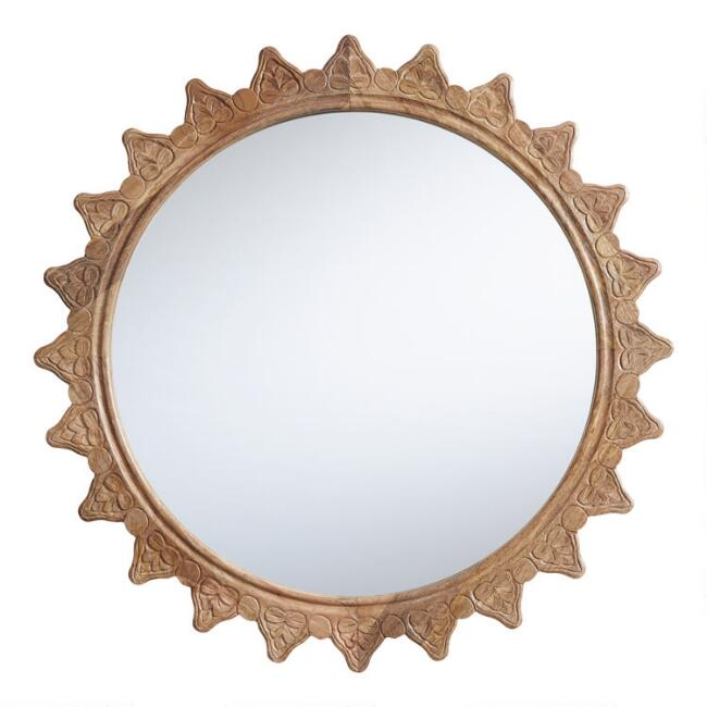 Round Natural Carved Wood Sun Mirror, Natural Carved Wood Round Mirror