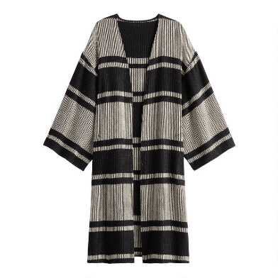 Black And White Textured Stripe Jacket With Pockets