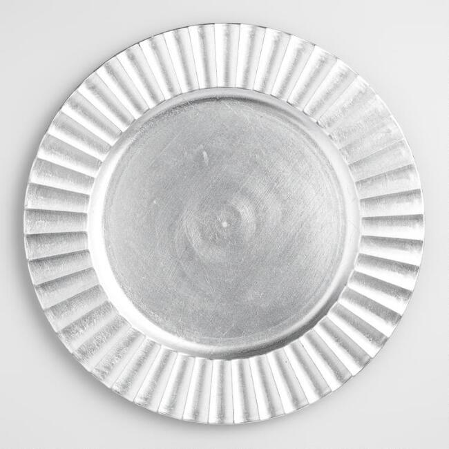 Fluted Silver Charger, Set of 4