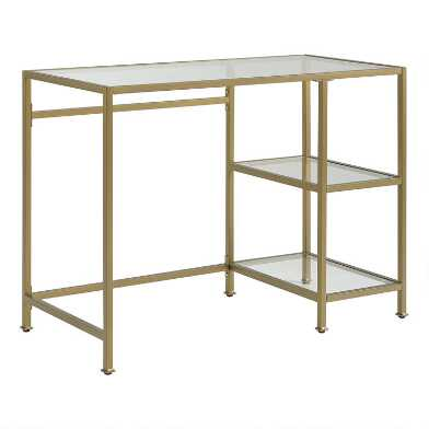 Metal and Glass Milayan Desk with Shelves