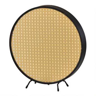 Round Black Metal and Cane LED Shane Accent Lamp