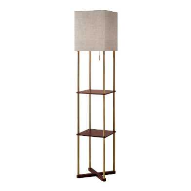 Antique Brass Homer Floor Lamp with USB and Shelves