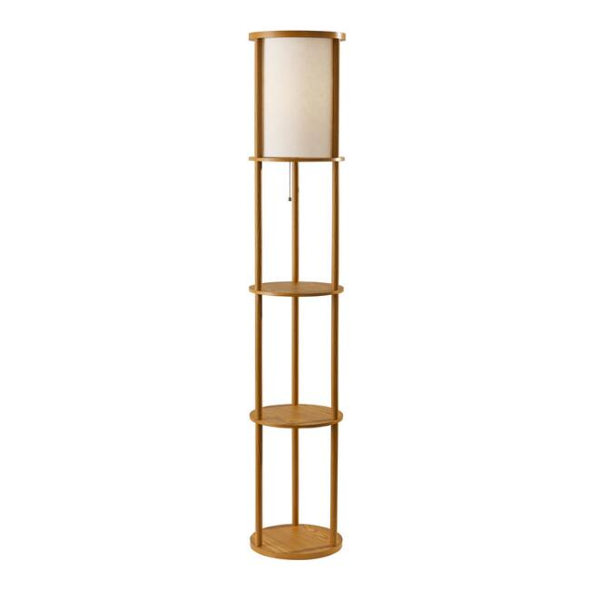 Round Natural Wood Winsted Floor Lamp with Shelves
