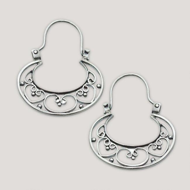 Novica Our Three Hearts Sterling Silver Hoop Earrings