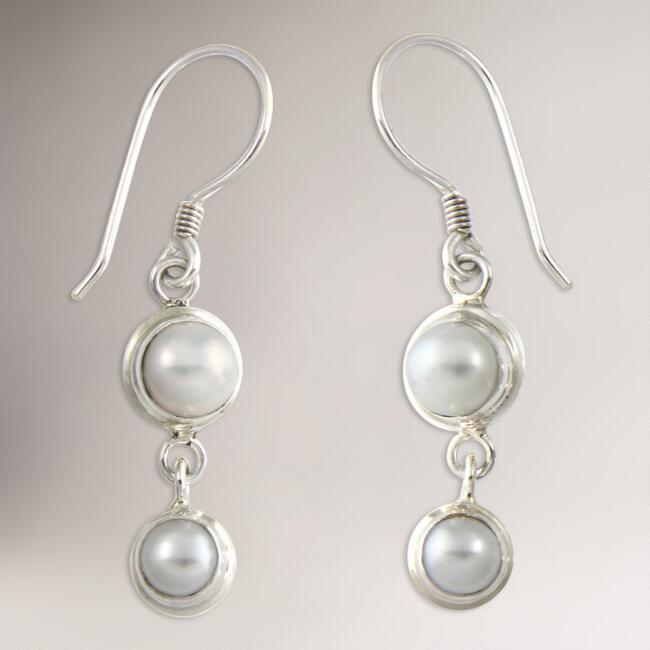 Novica Two Full Moons Pearl Drop Earrings