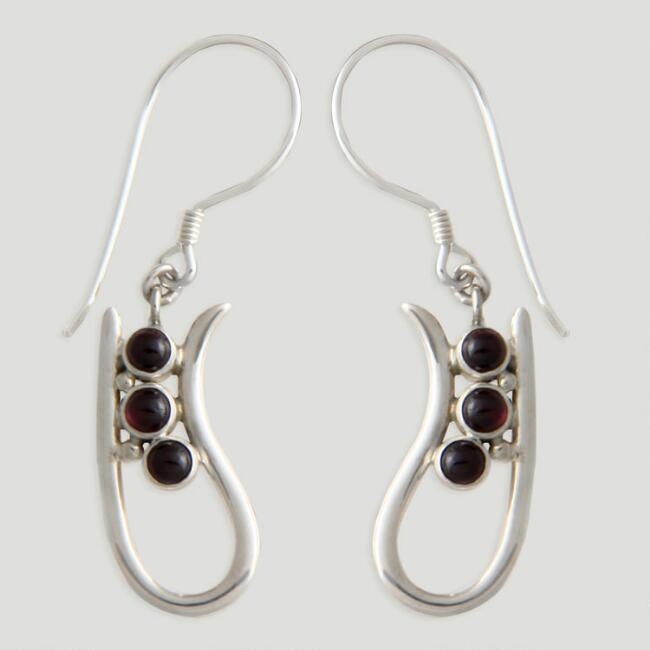 Novica Peas in a Pod Garnet Drop Earrings