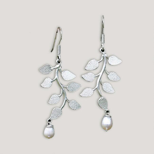 Novica White Forest Pearl Drop Earrings