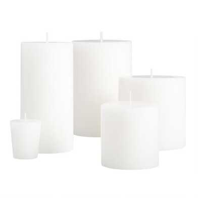 White Unscented Candle Collection