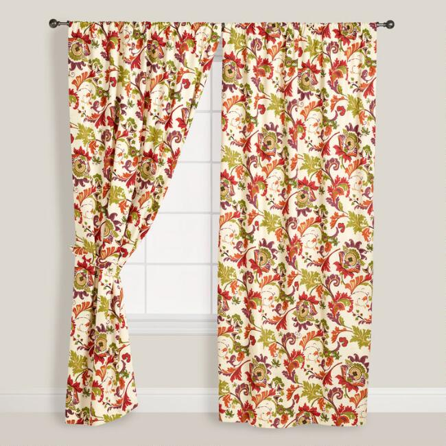 Floral Campione Cotton Curtains, Set of 2