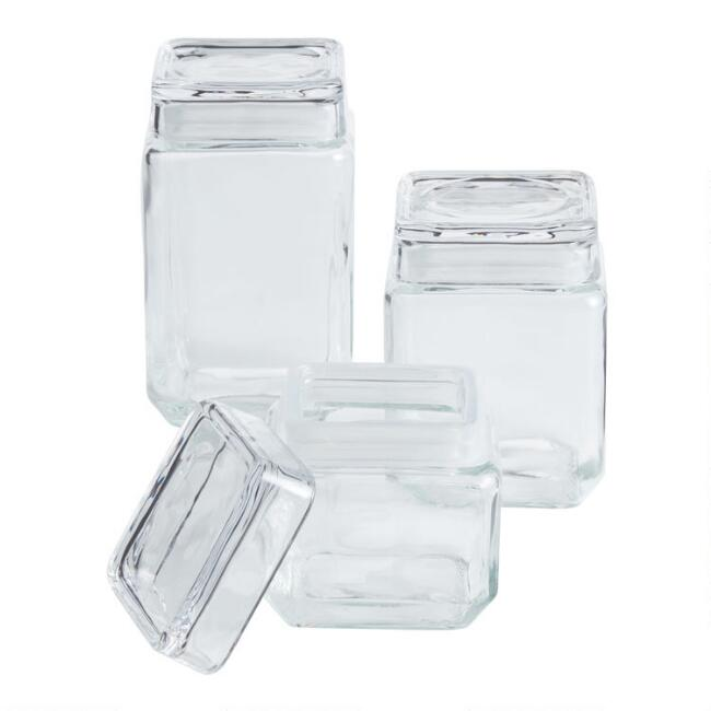 Stackable Square Glass Jars with Lids 27 oz.