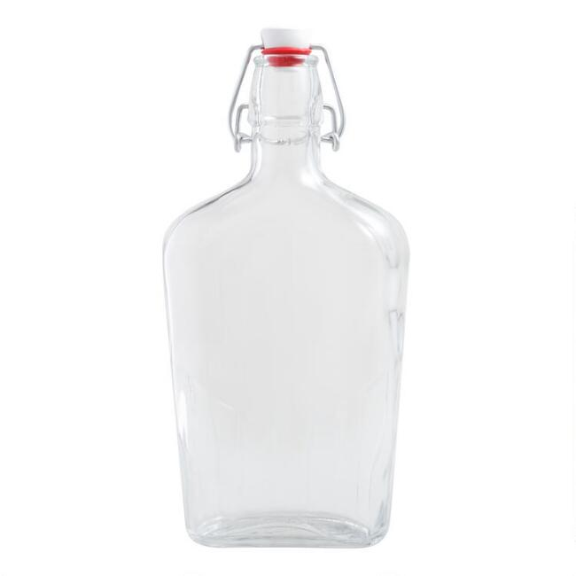 Glass Flask Bottle With Clamp Stopper