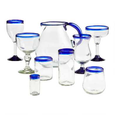 Blue Handcrafted Rocco Glassware Collection